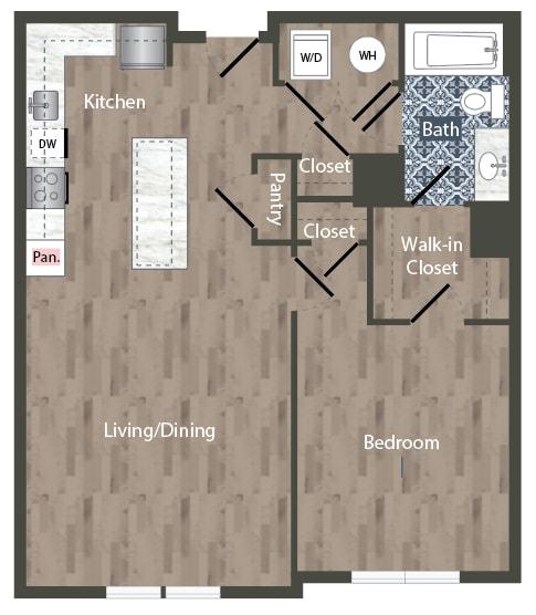 A1A Floor Plan at Park Kennedy, Washington, 20003