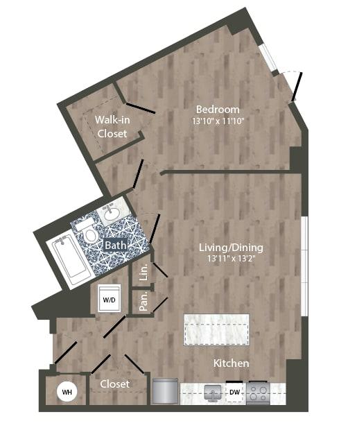 A20A Floor Plan at Park Kennedy, Washington, 20003