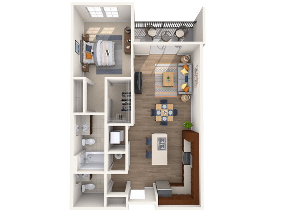Floor Plan  A4A 1Bed_1.5Bath at Avenue Grand, White Marsh, MD