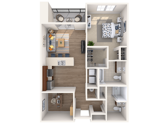 Floor Plan  A6AD 1Bed_1.5Bath at Avenue Grand, White Marsh, Maryland