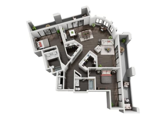 Two Bedroom, Two Bath Floor Plan at The Mansfield at Miracle Mile, Los Angeles, CA , 90036