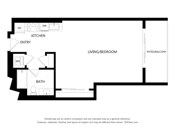 unit 303 Studio Floor Plan at The Mansfield at Miracle Mile, Los Angeles, 90036