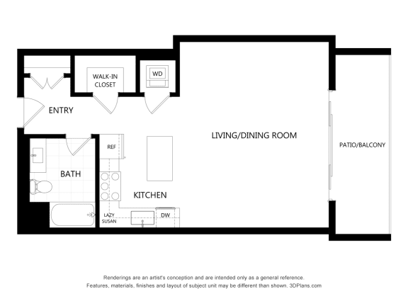 unit 305 Studio Floor Plan at The Mansfield at Miracle Mile, Los Angeles, CA