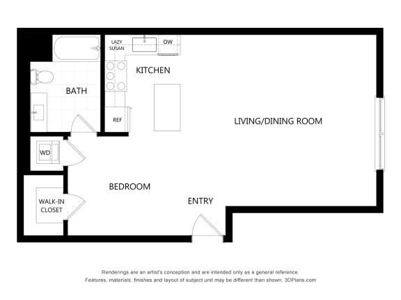 unit 408 Studio Floor Plan at The Mansfield at Miracle Mile, California, 90036