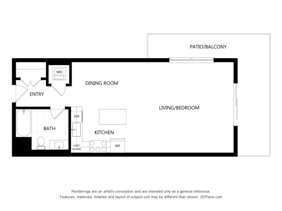 unit 509 Studio Floor Plan at The Mansfield at Miracle Mile, Los Angeles, CA, 90036