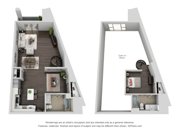 unit 613_1 bedroom loft penthouse at The Mansfield at Miracle Mile, California, 90036