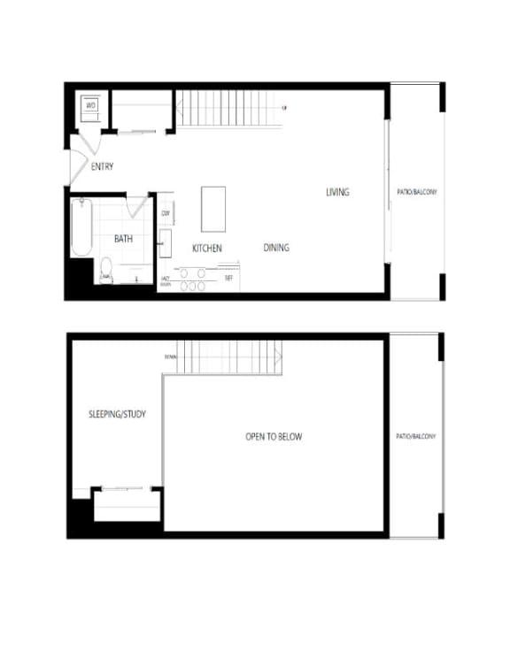 Floor Plan  Studio Loft Penthouse 2d floor plan, The Mansfield at Miracle Mile, Los Angeles