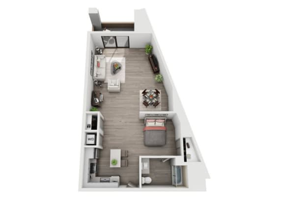 Studio Floor Plan at The Mansfield at Miracle Mile, Los Angeles, CA , 90036