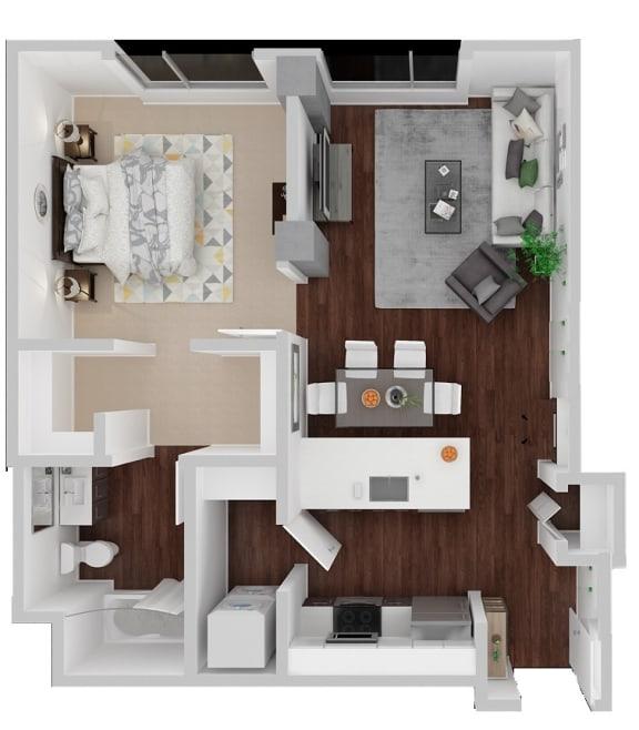 Floor Plan  Dolores Alt 1 Bedroom 1 Bath Floorplan