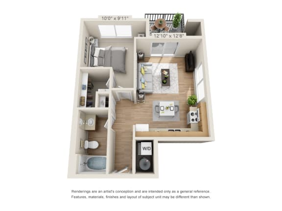 Floor Plan  One Bedroom_610 at 206, Hillsboro, Oregon