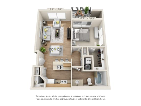 Floor Plan  One Bedroom_645 at 206, Hillsboro, OR, 97006