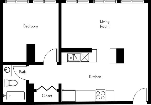 Floor Plan  E1-H Floor Plan at The Luckman, Ohio, 44114