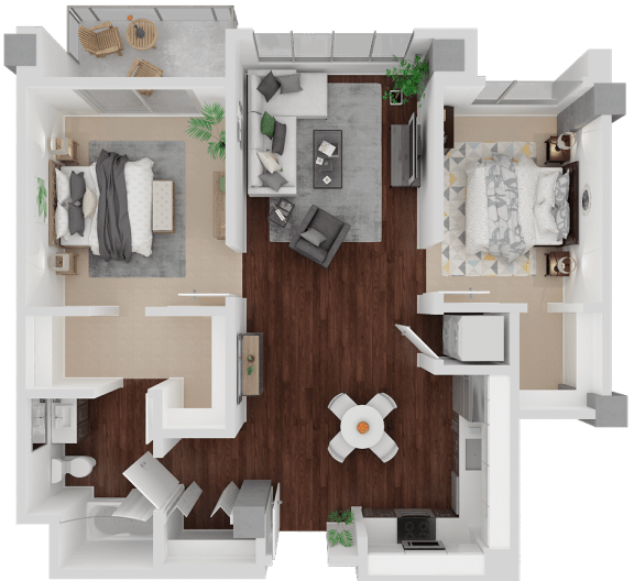 Floor Plan  Valencia Alt 2 Bed 1 Bath floorplan