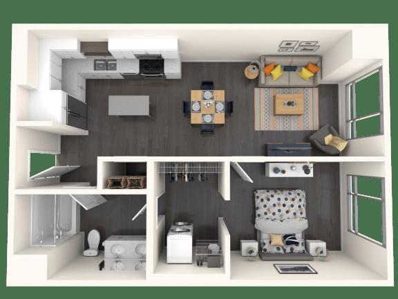 Floor Plan  Jules A16 1x1 713sf