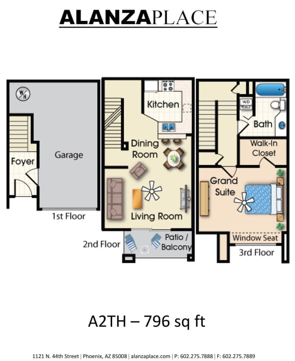 Floor Plan  one bedroom one bathroom A Floor plan at Alanza Place, Phoenix, 85008