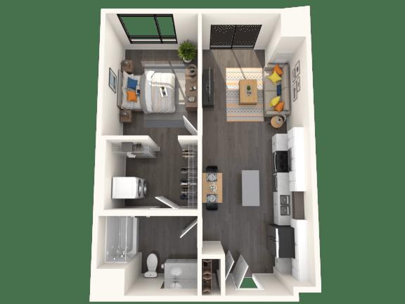 Floor Plan  Jules A3 1x1 652sf