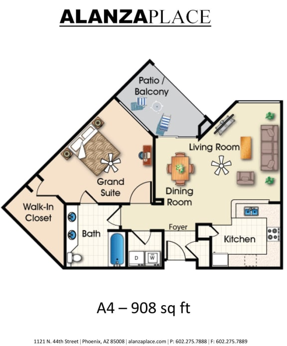 one bedroom one bathroom D at Alanza Place, Phoenix
