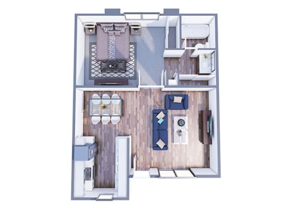 Floor Plan  Bethany one bedroom one bathroom