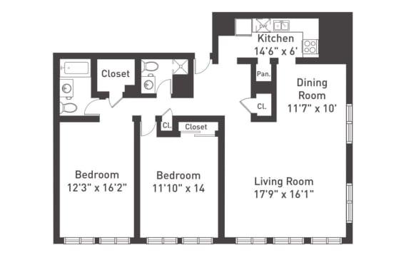 Floor Plan  B3 Floor Plan at The Luckman, Cleveland, 44114