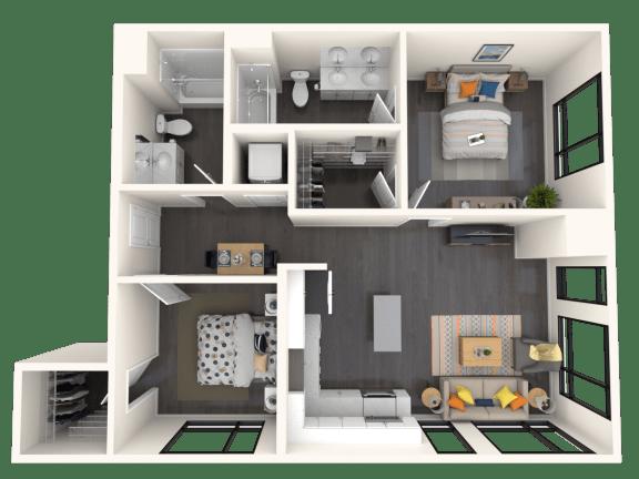 Floor Plan  Jules B4 2x2 942sf