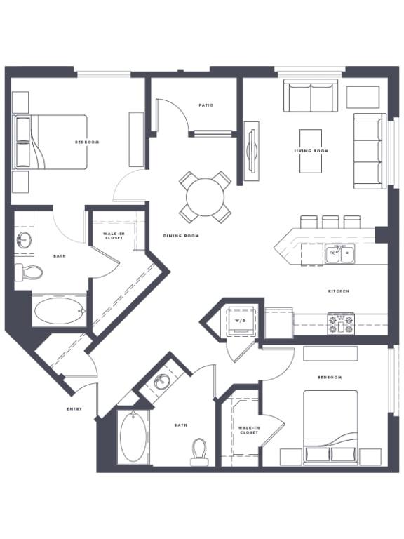 Floor Plan  B4 floor Plan 2x2 1220 sf