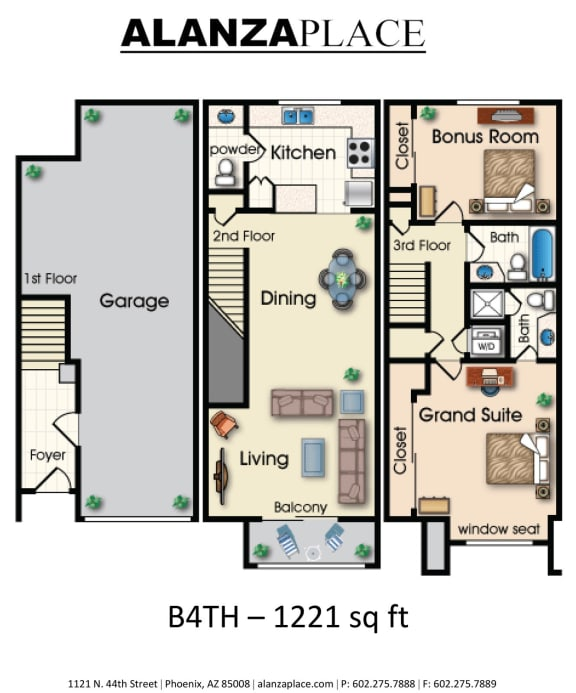 Two bedroom two and a half bathroom Floor plan at Alanza Place, Phoenix, 85008