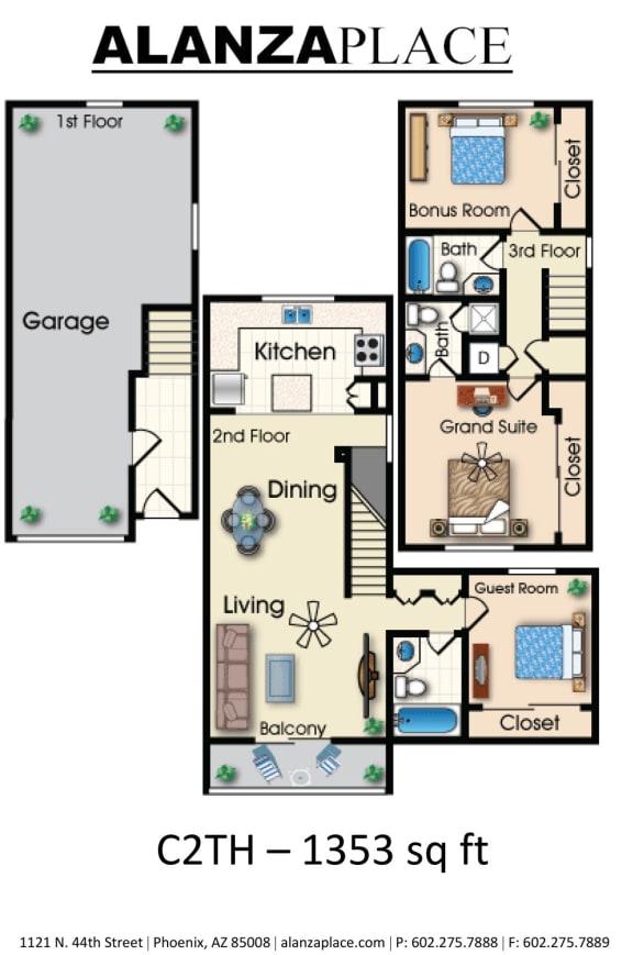 Three bedroom three bathroom Floor plan at Alanza Place, Phoenix, Arizona