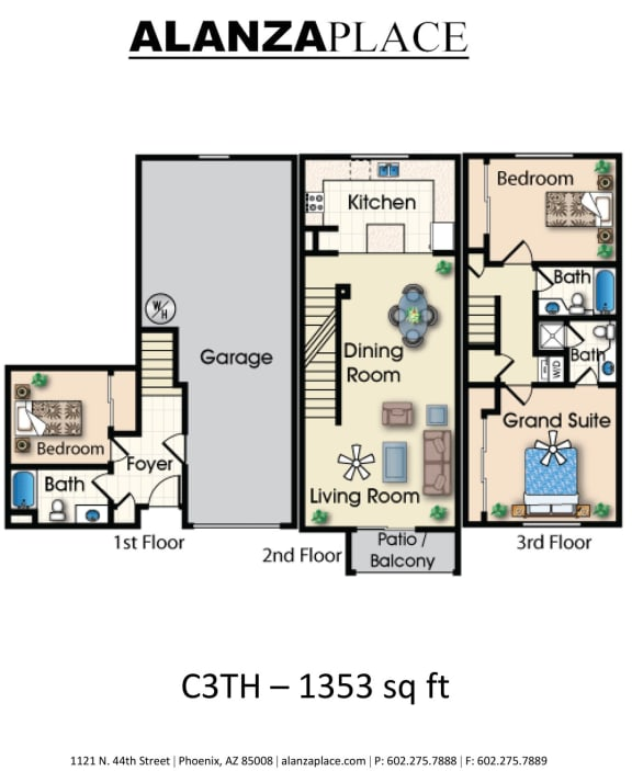 Three bedroom three bathroom A Floor plan at Alanza Place, Phoenix