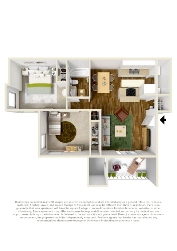 Floor Plan  Canyon Creek 2 bed 1 bath