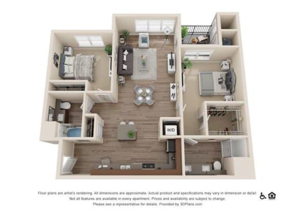 Floor Plan  Two Bedroom B Floor Plan at Rockvue, Colorado, 80021