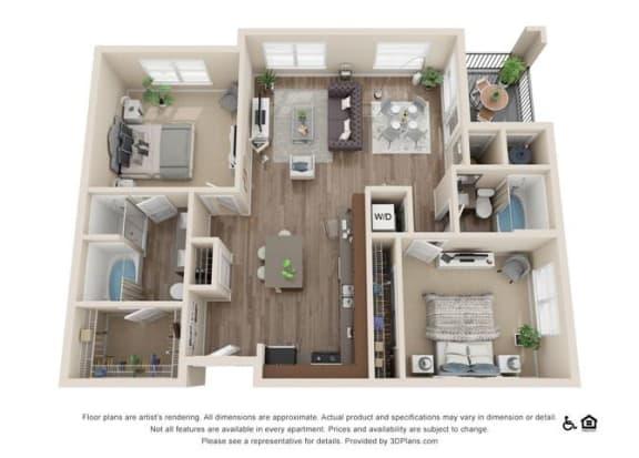 Floor Plan  Two Bedroom A Floor Plan at Rockvue, Colorado
