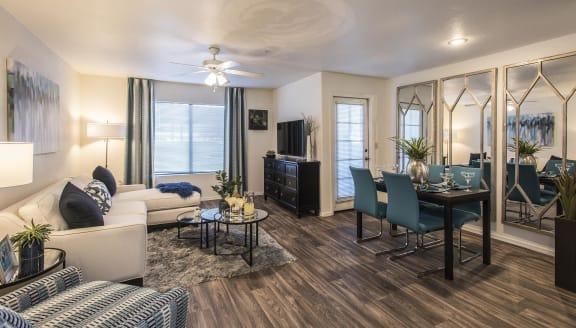 Classic Living Room Design With Wood Style Flooring, at San Valiente, Phoenix, AZ 85021