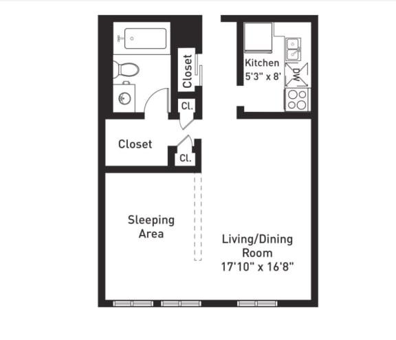 Floor Plan  E1 Floor Plan at The Luckman, Cleveland