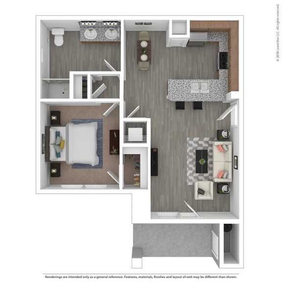 Floor Plan  One bedroom One bathroom at Edgewater at the Cove, Oregon City, Oregon