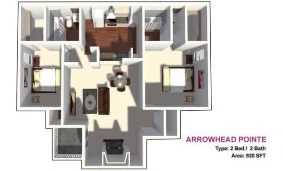 Floor Plan  2x2 junior floor plan 920 sf