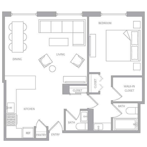 a10a Floor Plan at Nob Hill Tower, San Francisco, 94109
