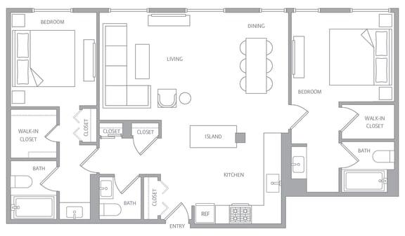 b20c Floor Plan at Nob Hill Tower, California