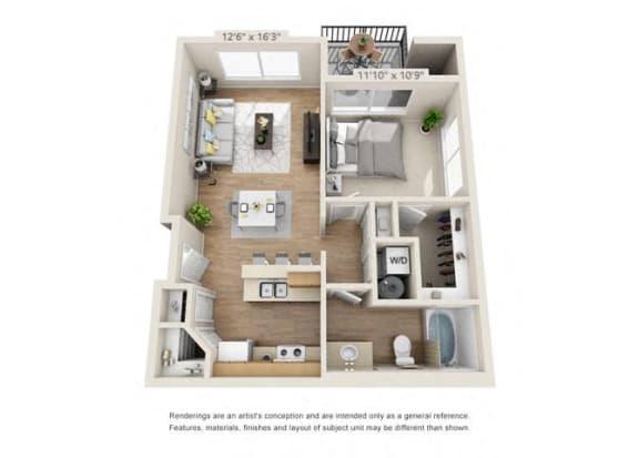 Floor Plan  One Bedroom at 206, Oregon