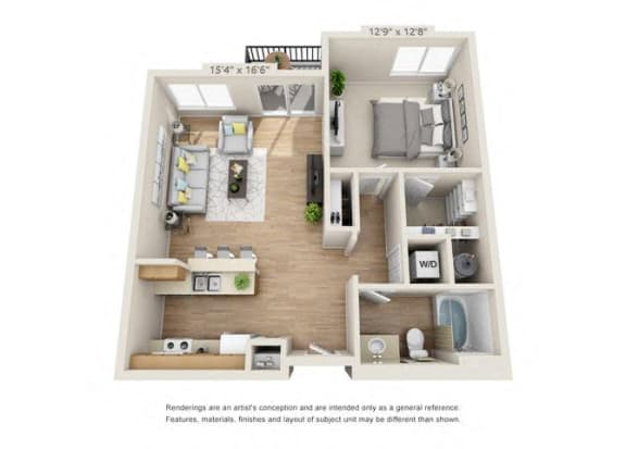 Floor Plan  One Bedroom at 206, Hillsboro, OR