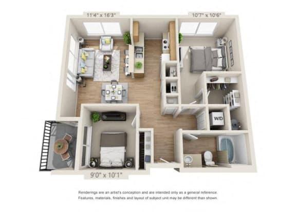 Floor Plan  Two Bedroom at 206, Hillsboro
