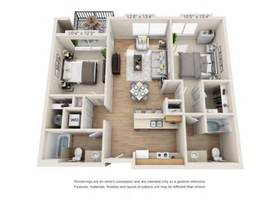 Floor Plan  Two Bedroom at 206, Hillsboro, OR