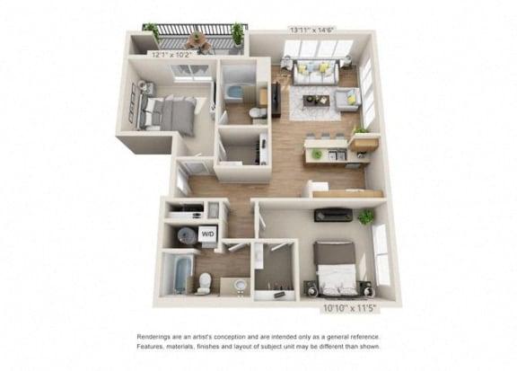 Floor Plan  Two Bedroom at 206, Hillsboro, Oregon