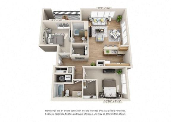 Floor Plan  Two Bedroom at 206, Oregon