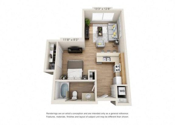 Floor Plan  Studio at 206, Hillsboro, OR, 97006