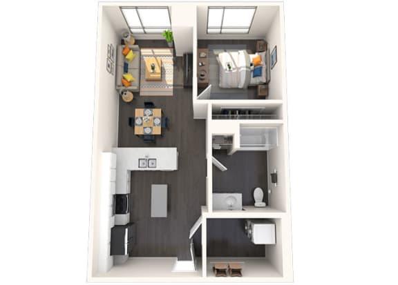 Floor Plan  A18 1x1 715 SF