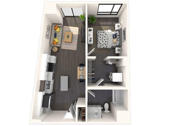 Floor Plan  A13 1x1 673 SF