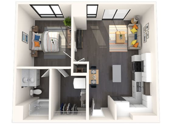 Floor Plan  A14 1x1 696 Sqft