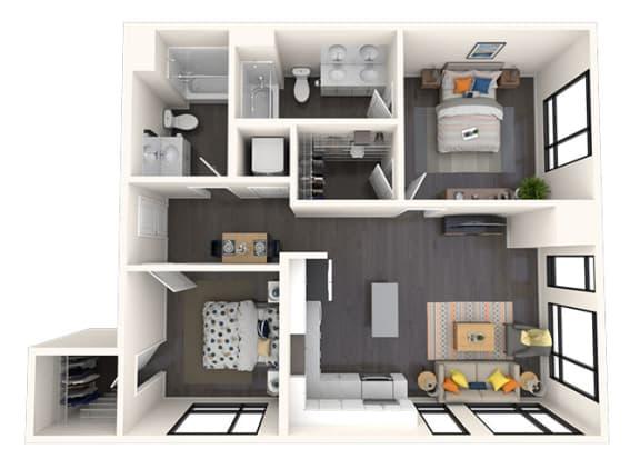 Floor Plan  B3 2x2 942 SF