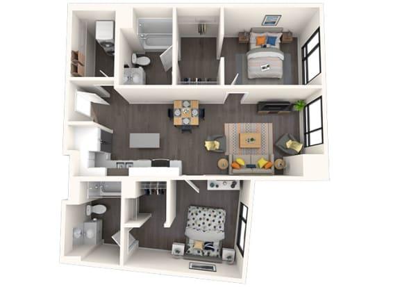 Floor Plan  B5 2x2 961 SF