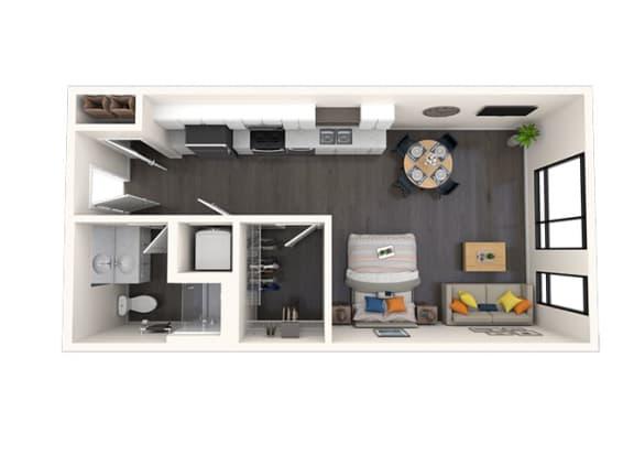 Floor Plan  S1 Studio 518 SF